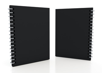 3d matte black notebook and wires in isolated background