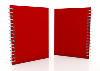 3d fresh red notebook and wires in isolated background