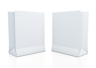 3d clean white papers bags in isolated background