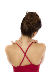 Woman holding her tense neck