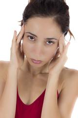 Stressed woman having a headache