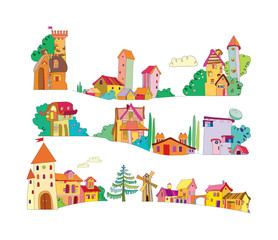 set of colored cartoon houses painted by hand