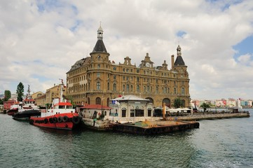 Haydarpasha station building in cloudy day