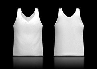 3d white tank top front and back in isolated background