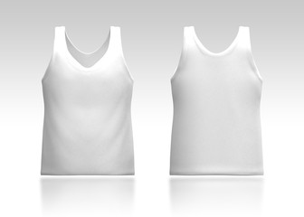 3d dark clean white tank top front and back in isolated