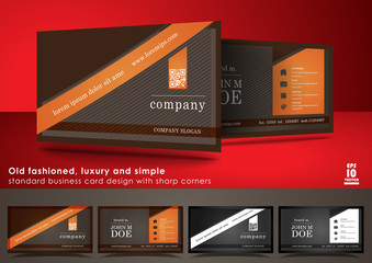 Old fashioned business card design with sharp corners