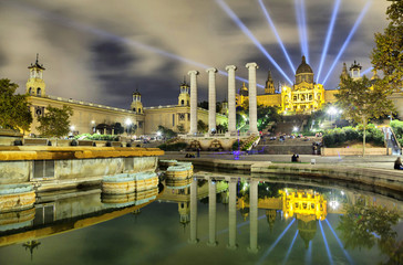 Building of Museum of Catalonia reflecting in water of fontain