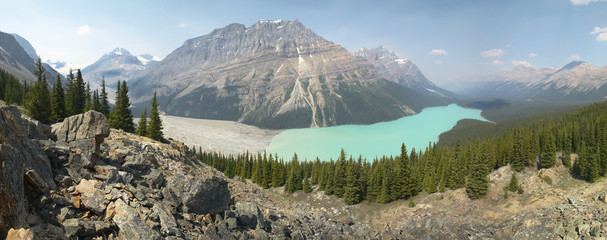 Peyto glacier lake in Rocky Mountains. Canada