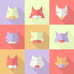 Stylized animal avatar cats