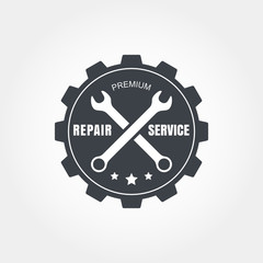 Vintage style car repair service label. Vector logo design templ