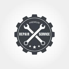 Vintage style car repair service label. Vector logo design templ