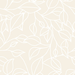 Floral seamless pattern with leaf. Vector neutral pastel  backgr