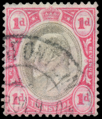 stamp printed in UK shows King George V