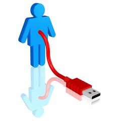 Mensch mit USB-Stecker