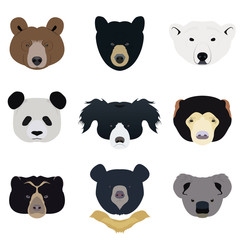 Set of Bear and Wild Animals Vector and Icon