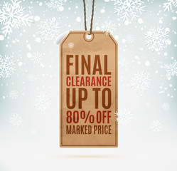Final clearance price tag on winter background with snow and