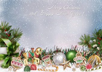 Greeting card with Christmas decorations