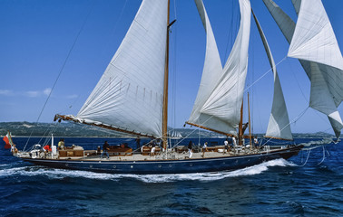 Italy, Sardinia, Emerald Coast, old sailing boat