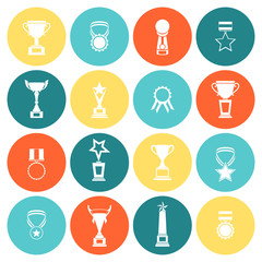 Trophy icons set flat