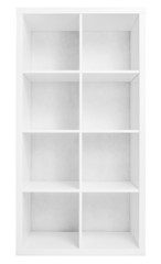 Empty shelving or library bookcase isolated on white