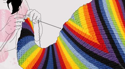 girl knits