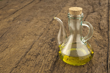 Virgin olive oil in glass jar