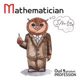 Alphabet professions Owl Letter M - Mathematician Vector poster