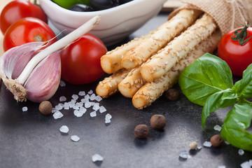 Italian grissini bread sticks