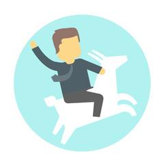 Man on goat.