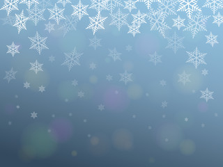 CHRISTMAS Background (lights blue sky falling snowflakes)