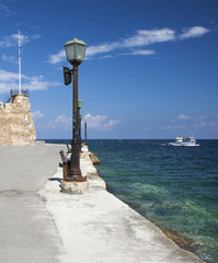 View of entrance to Chania harbour, Crete, Greece