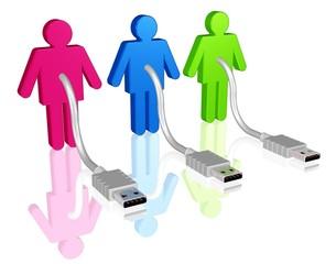 drei Personen warten auf digitalen Anschluss