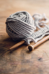 Knitting Set On Wooden Table