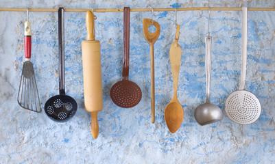 vintage kitchen utensils,cooking concept