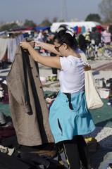 woman on flea market in zagreb