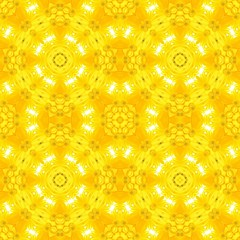 Yellow kaleidoscope floral abstract seamless background.