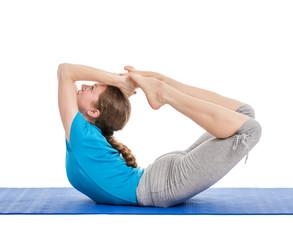 Yoga - young beautiful woman doing yoga asana excerise isolated