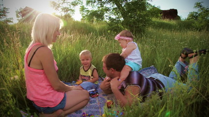 Family have fun on picnic