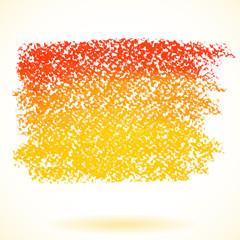Orange pastel crayon spot, isolated on white background