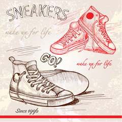 Sneakers shoes vector sketch illustration