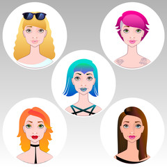 cute illustrations of beautiful young girls with various hair st