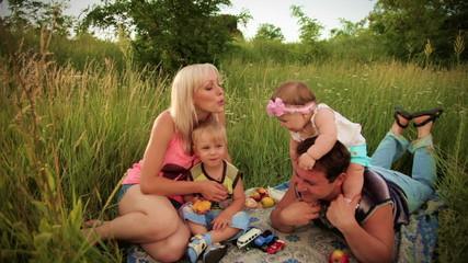 Family happiness on picnic