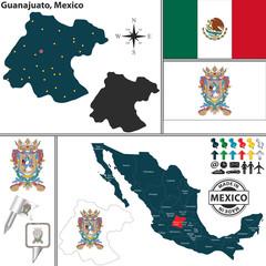 Map of Guanajuato, Mexico