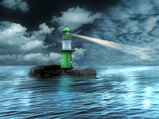Leuchtturm auf Felseninsel im Meer in der Dämmerung