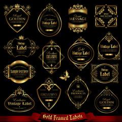 Golden framed labels