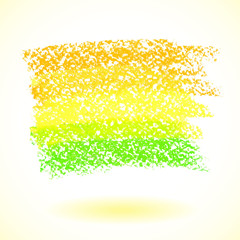 Yellow pastel crayon spot, isolated on white background