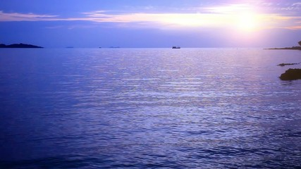 Evening sea with boat in Koh Samui, Thailand. HD. 1920x1080