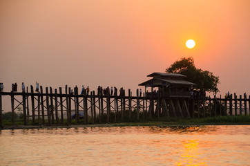 U Bein Bridge at sunset, Amarapura, Mandalay region, Myanmar