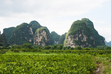 Karst mountains landscape in southern china