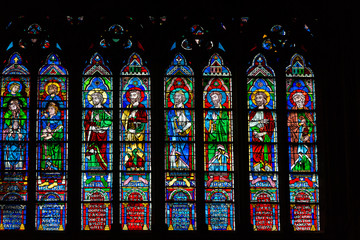 Stained glass windows ,  Notre Dame Cathedral,  Paris